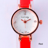 Watch-Ladies Mini Quartz Watches Ultra Thin Rhinestone Crystal Leather Strap