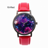 Watch-Quartz Watches Star And Sky Pattern Rhinestone Leather Strap