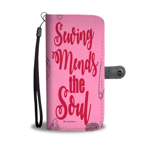 Sewing Mends the Soul pink wallet phone case