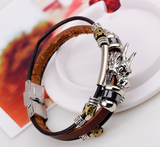 Bracelets-Tibetan Silver Multilayer Leather Dragon Bracelet For Men