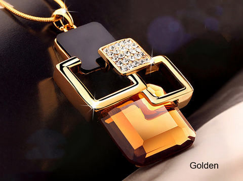 Pendant Necklace Golden Hollow Geometric Big Crystal Stone Pendant Necklace