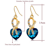 Jewelry Sets- Gold Plated Crystal Heart Necklace &  Earrings