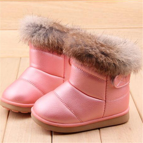 Children Winter Warm Wool Cloth With Soft Nap Of Rabbit Hair Fur Rubber Soles