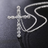 Pendant-Necklace-Cross Christ Jesus Necklace Silver Crystal CZ Stone 1mm 18 Collar