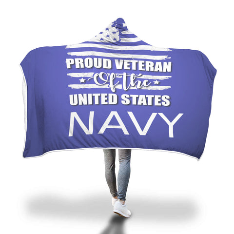 US Navy Veteran hooded blanket