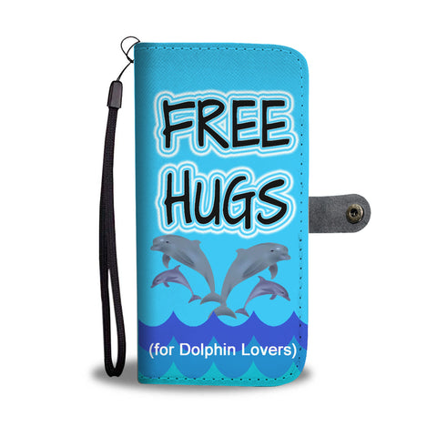 Free Hugs Dolphin wallet phone case