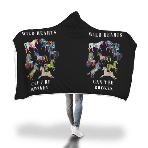 Wild Hearts Can't Be Broken Horse Hooded Blanket