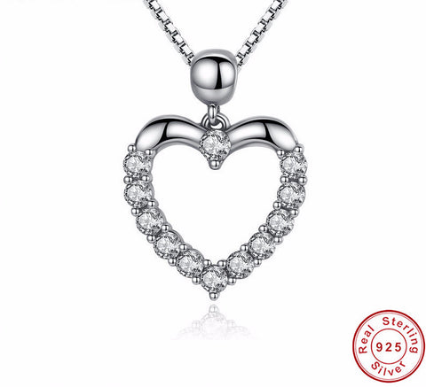 Pendant Necklace-Heart Love 925 Sterling Silver Women Pendant Necklaces