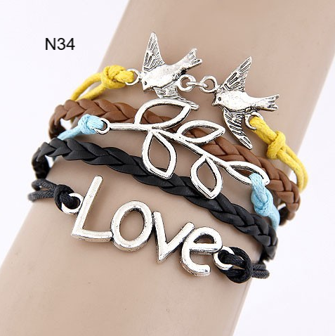 Bracelets-Multilayer Vintage Charm Leather Bracelets