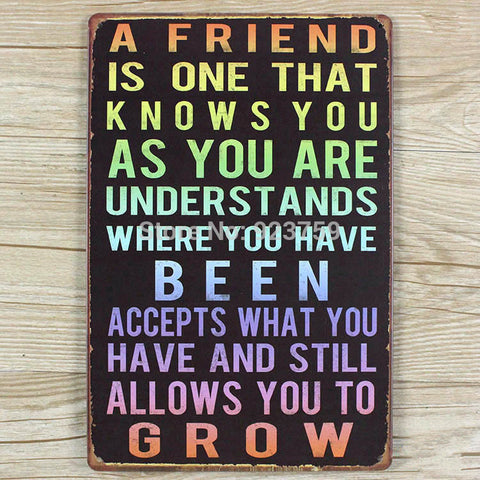 Decorative Metal Wall Signs- A FRIEND IS ONE THAT KONWS YOU AS YOU ARE  20X30cm