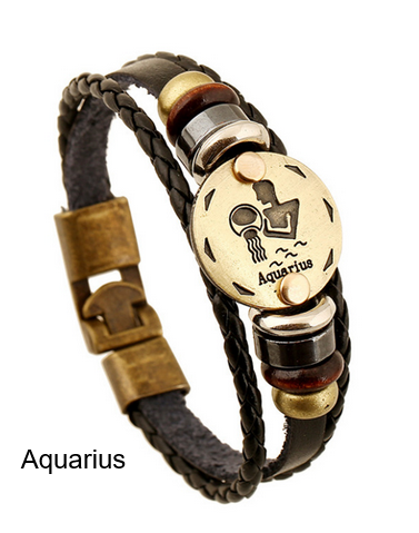 Bracelets-Zodiac Signs Leather Punk Bracelet Wooden Bead + Black Gallstone