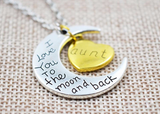 Pendant Necklace-I Love You To The Moon And Back Silver Necklace