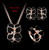 Jewelry Set 18K Rose Gold Plate Austrian Crystal Enamel Earring/Necklace/Ring Flower Set