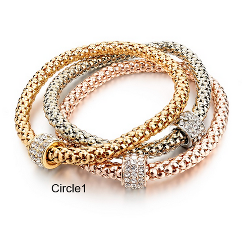 Bracelets- 18K Gold Silver Rose Plated Bracelet Charms Metal Chain