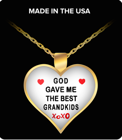Pendant Necklaces God Gave Me Best Grandkids