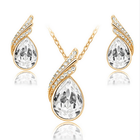 Jewelry Sets-Austrian Crystal Silver And Gold Plated Jewelry Sets For Women