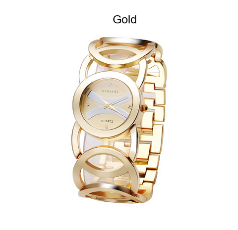 Watch-Gold Plated Circles Strap Stainless Steel Wrist Watches