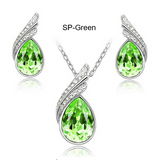 Special OFFER  Austrian Crystal Silver And Gold Plated Earring & Pendant Set For Women