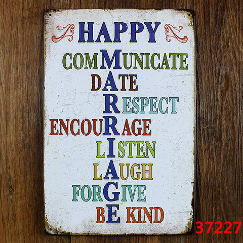 Decorative Metal Wall Signs- HAPPY MARRIAGE  20X30cm