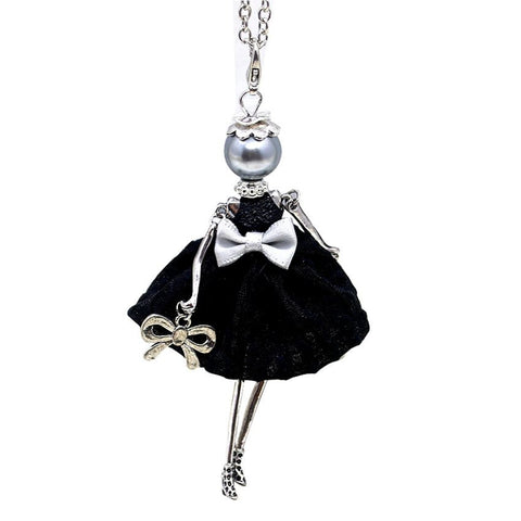 Pendant Necklace Doll Bowknot Dress Necklace