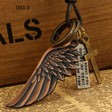 Pendant Necklace-Male Leather Necklace Angel Wings Necklace