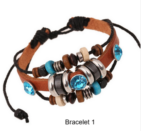 Bracelets-Mens Ladies Bracelets Vintage Rope Leather Hand Woven