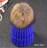 Hats-Mink And Fox Fur Ball Cap Pom Poms Winter Hat