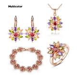 Jewelry Set 18K Rose Gold Plated Women Wedding With High Quality AAA Zircon