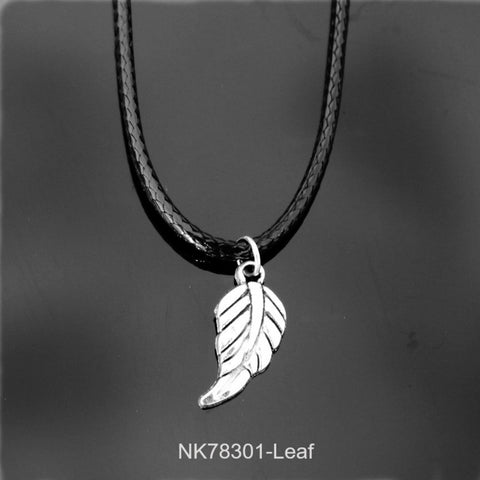 Pendant Necklace-16 Style Vinatge Silver Plated Wing Cross Love Leather Necklace Pendant