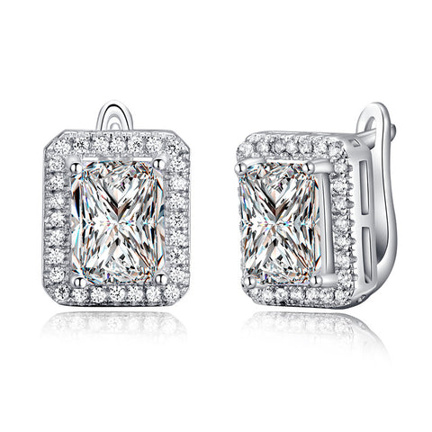 Earrings-1.8 Ct Rectangle Cubic Zirconia Earring Stud White Gold Plated DE95