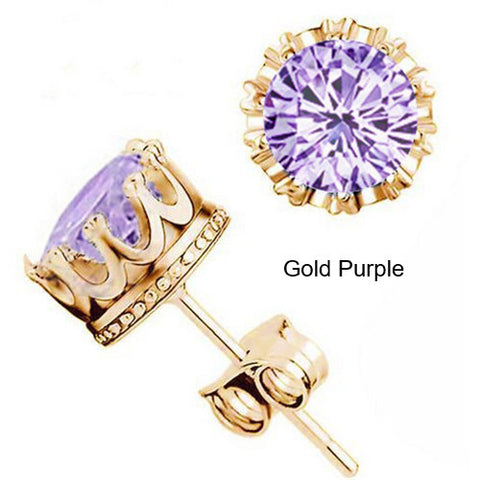 Special OFFER Earrings- 18K Gold Plated Crystal CZ Diamond Crown Stud Earrings