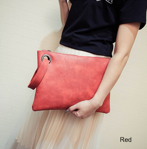 Bags- Women's Leather Envelope Clutch Bag