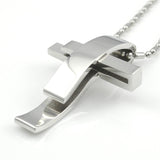 Pendant Necklace-Silver Cross Stainless Steel Pendant Necklace Chain