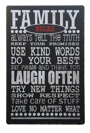 Decorative Metal Wall Signs- FAMILY RULES....  20X30cm