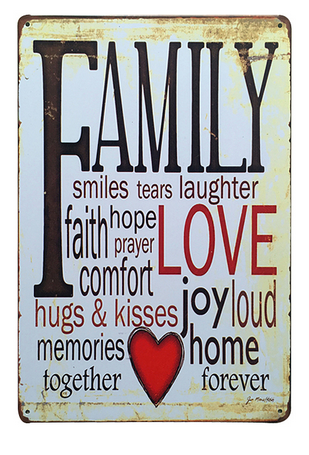 Decorative Metal Wall Signs- FAMILY LOVE....  20X30cm