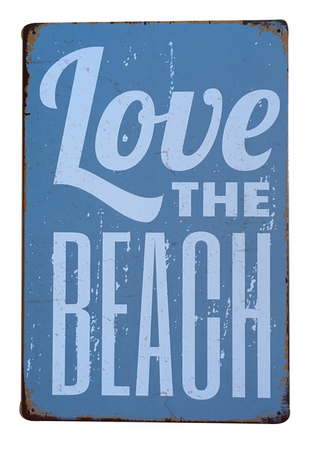 Decorative Metal Wall Signs- LOVE THE BEACH  20X30cm