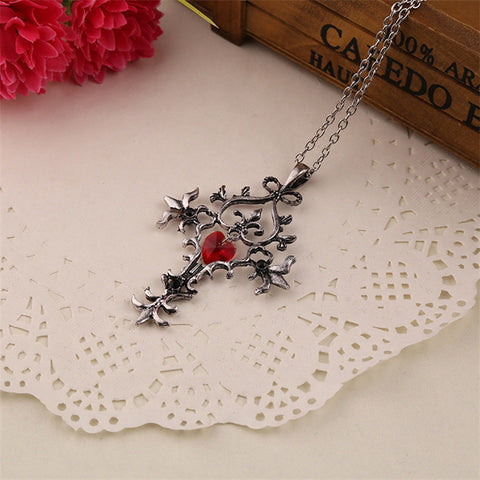 Special OFFER-Pendant Necklace- Vintage Cross Pendant Red Heart Gothic Jewelry