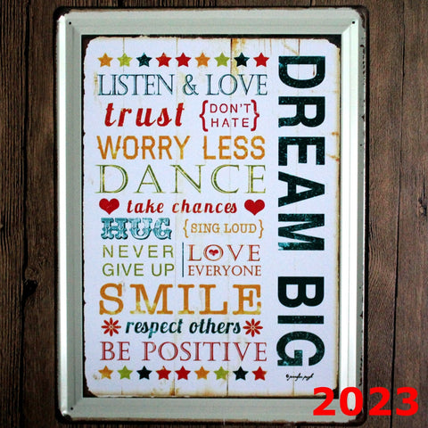 Decorative Metal Wall Signs- DREAM BIG...... 30X40cm