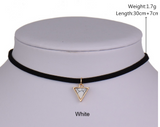 Pendant Necklace-Short Black Velvet Choker Necklaces With Triangle Faux Stone