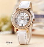 Watch-Ladies Quartz Watch Women Rhinestone Leather Crystal