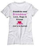 Grandmas' Love, Hugs and Kisses-Women T-Shirts