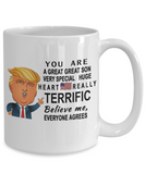 Donald Trump coffee mug funny,Perfect Christmas birthday gifts Donald trump,you are a great great son mug trump