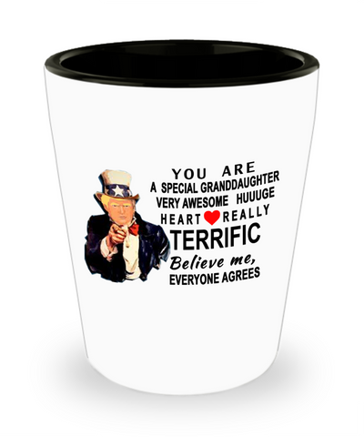 Funny Donald Trump shot glass,You are a very special granddaughter,perfect Christmas birthday gifts Donald Trump