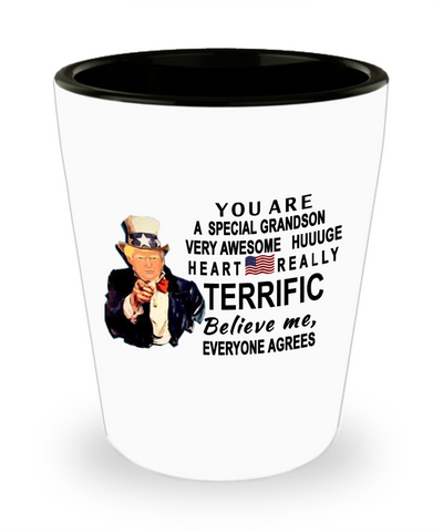 Funny Donald Trump Fathers Day shot glass,You are a special grandson Trump,perfect Christmas birthday gifts Donald Trump