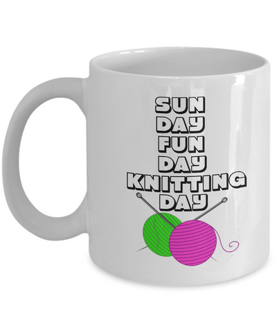 Kmitting Mug - Coffee Gift Mug. This makes a wonderful Gift Mug for Family and Friends