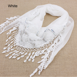 Scarves- Spring And Autumn Women's Embroidered Trigonometric Cape Scarf Bib Tassel Silk
