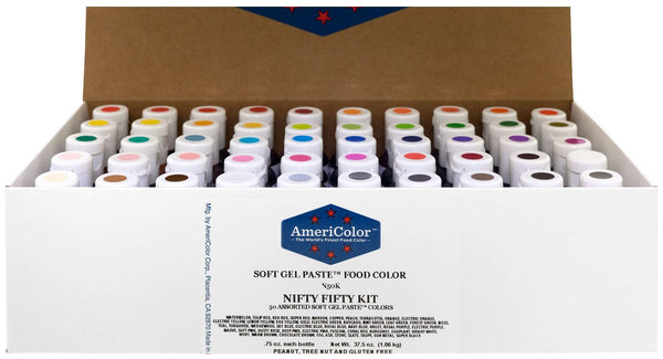 AmeriColor Food Coloring AmeriColor Nifty - Fifty Kit .75 Ounce Soft Gel Paste - 50 Pack