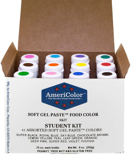AmeriColor Food Coloring AmeriColor Student Kit, 12 .75 Ounce Bottles Soft Gel Paste Colors