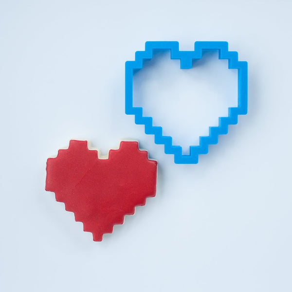 Frosted Cookie Cutter 8-Bit Heart Cookie Cutter