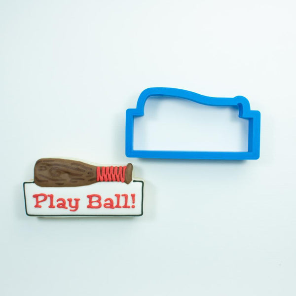 Frosted Cookie Cutter Baseball Bat Plaque Cookie Cutter